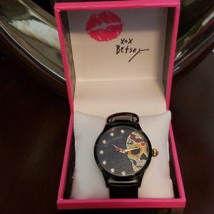 Betsey Johnson Accessories - Betsey Johnson sleek sugar skull black watch